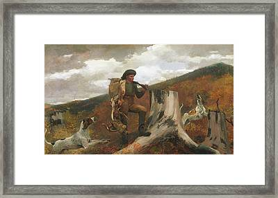 Framed Print featuring the painting A Huntsman And Dogs - 1891 by Winslow Homer