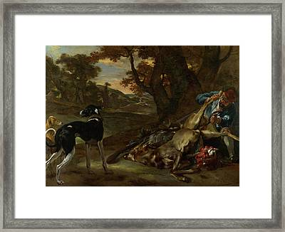 A Huntsman Cutting Up A Dead Deer, With Two Deerhounds Framed Print