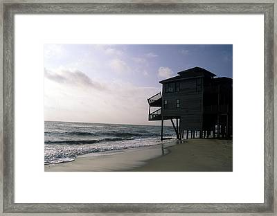 A Hurricane Damaged House On The Coast Framed Print by Stacy Gold