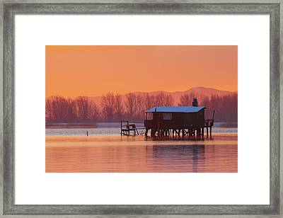 Framed Print featuring the photograph A Hut On The Water by Davor Zerjav