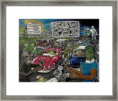 A I P Monster Movie Marathon At The Twilight Drive - In  La Porte Indiana Framed Print