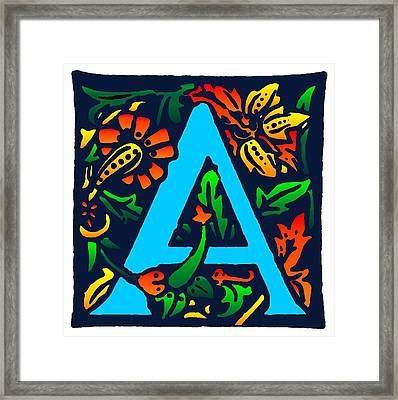 A In Blue Framed Print by Kathleen Sepulveda