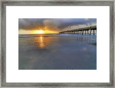 A Jacksonville Beach Sunrise - Florida - Ocean - Pier  Framed Print by Jason Politte