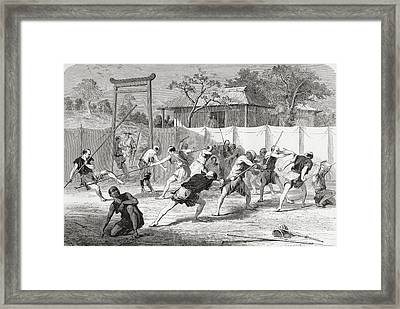 A Japanese Fencing School In The 19th Framed Print by Vintage Design Pics