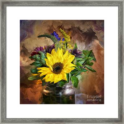 A Jar Of Wildflowers Framed Print by Lois Bryan