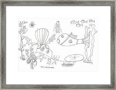 A Jellie And Sea Creatures Framed Print