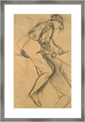 A Jockey Framed Print by Edgar Degas