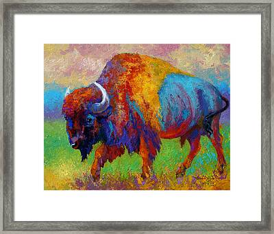 A Journey Still Unknown - Bison Framed Print by Marion Rose