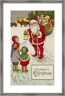 A Joyful Christmas Postcard Framed Print
