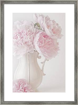 A Jug Of Soft Pink Peonies Framed Print