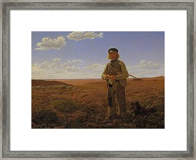 A Jutland Shepherd On The Moors Framed Print by Frederik Vermehren