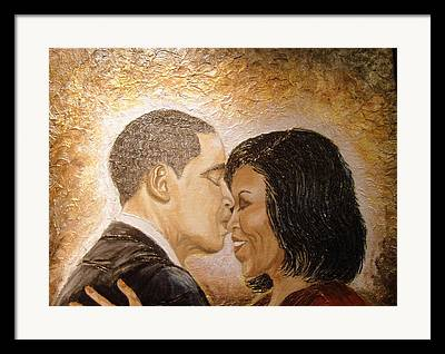 Barack And Michelle Obama Mixed Media Framed Prints