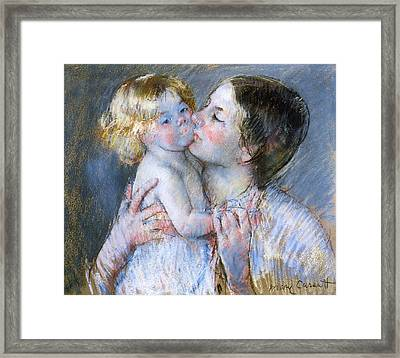 A Kiss For Baby Anne Framed Print by Mary Stevenson Cassatt