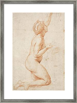 A Kneeling Nude Woman With Her Left Arm Raised Framed Print by Raphael