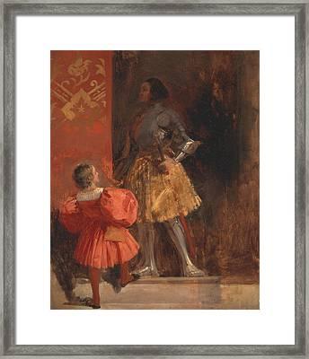 A Knight And Page  Framed Print by Richard Parkes Bonington