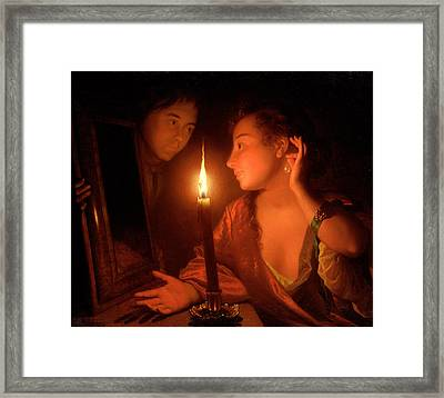 A Lady Admiring An Earring By Candlelight Framed Print by Godfried Schalcken