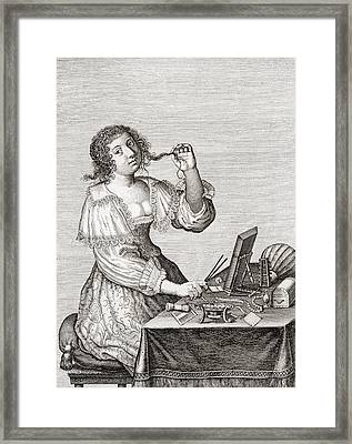 A Lady At Her Toilette, After A 17th Framed Print
