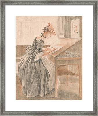 A Lady Copying At A Drawing Table Framed Print by Paul Sandby
