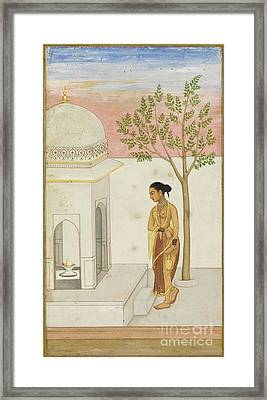 a Lady Going to Worship at a Lingam Shrine Framed Print