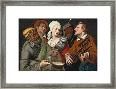 A Lady Holding A Swaddled Cat A Man With A Pan Of Porridge Another Playing With Fire Irons And Two O Framed Print by Circle of Bartolomeo Passerotti