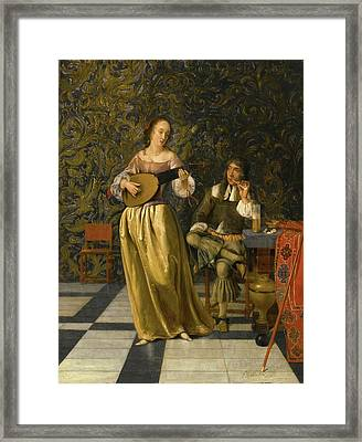 A Lady Playing A Lute With A Gentleman Seated At A Table In An Interior Framed Print