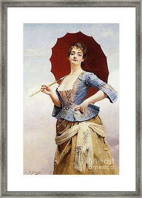 A Lady With A Parasol Framed Print by Gustave Jean Jacquet