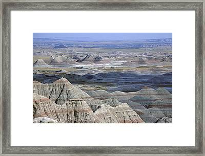 A Landscape Of The Badlands In South Framed Print by Joel Sartore