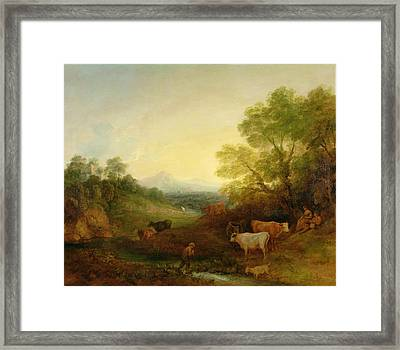 A Landscape With Cattle And Figures By A Stream And A Distant Bridge Framed Print