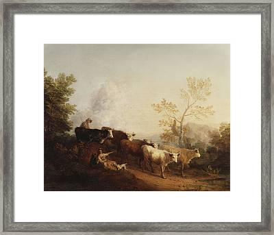 A Landscape With Cattle Returning Home Framed Print by Thomas Gainsborough