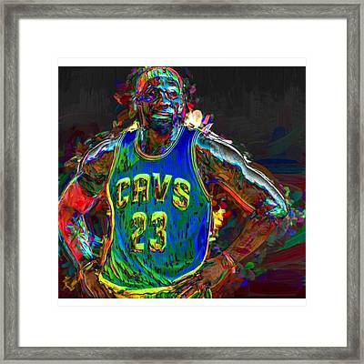 A Lebron James Creative Edit Digital Framed Print