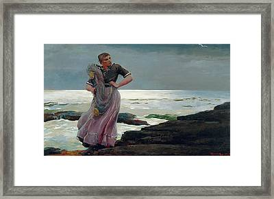 A Light On The Sea Framed Print by Winslow Homer