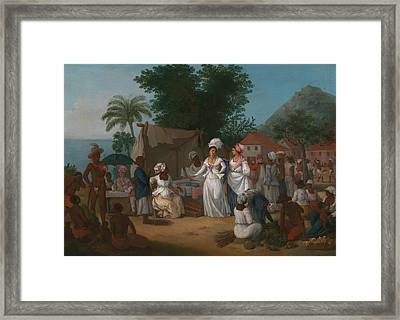 A Linen Market With A Linen-stall And Vegetable Seller In The West Indies Framed Print by Agostino Brunias