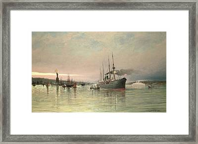 A Liner And Other Shipping Before The Statue Of Liberty Framed Print by Pieter Christiaan Cornelis Dommelshuizen