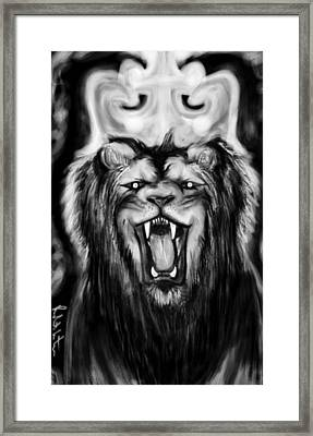 A Lion's Royalty B/w Framed Print
