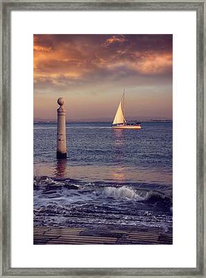 A Lisbon Sunset By The Tagus River Framed Print