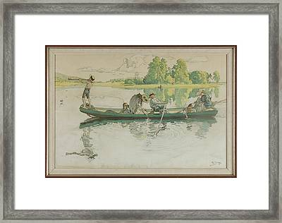 A Litographic Print After Carl Larsson Framed Print by MotionAge Designs