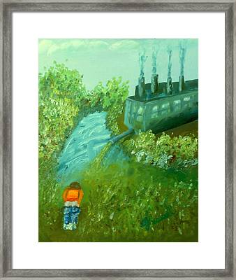 A Little Boy Peeing In The Willamette River Framed Print by DJ Russell