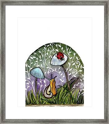 A Little Chat-ladybug And Snail Framed Print by Garima Srivastava