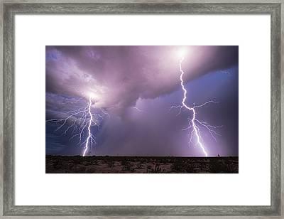 A Little Desert Lightning Framed Print by Saija  Lehtonen