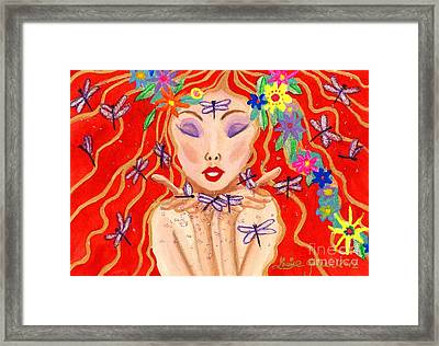 A Little Dragonfly Spell Framed Print by Louise Green
