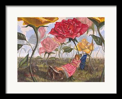 Flower Pink Fairy Child Framed Prints