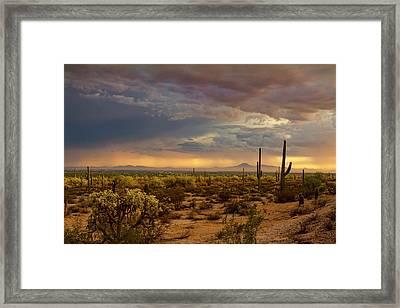 A Little Rain At Sunset  Framed Print by Saija Lehtonen
