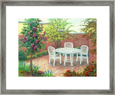 A Little Spring Patio  Framed Print by Nancy Heindl