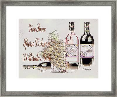 A Little Vino Framed Print by Jean Gugliuzza