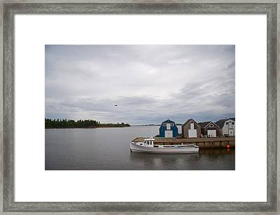 A Lobster Fishing Boat Sits Waiting Framed Print