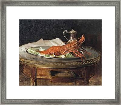A Lobster On A Silver Salver Framed Print
