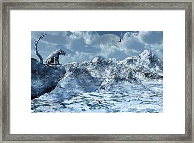 A Lone Sabre Toothed Tiger Perched Framed Print