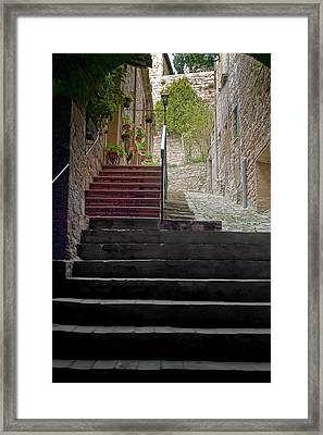 A Long Climb Up Tuscan Steps Framed Print