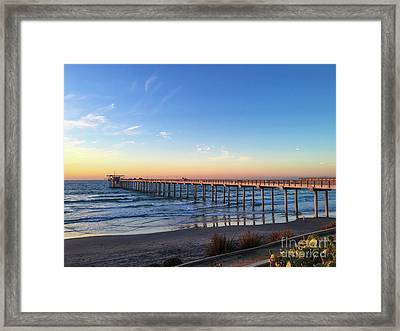 A Long Look At Scripps Pier At Sunset Framed Print