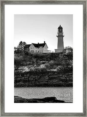 Framed Print featuring the photograph A Long Winter At Cape Elizabeth by Olivier Le Queinec